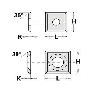 Rezerves nazis (4/45°) 14X14X2mm, CMT