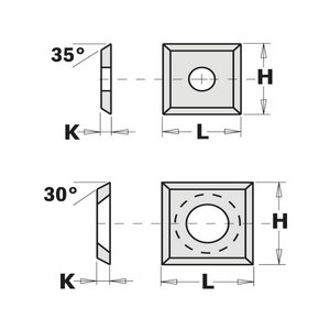 HW-SMG REVERSIBLE KNIFE STRAIGHT (4/30°) 14X14X2mm, CMT