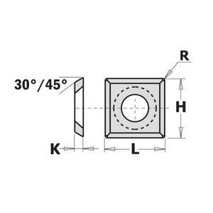 HW-HC REVERSIBLE KNIFE STRAIGHT W/ROUND (4/30°) 14X14X2, CMT
