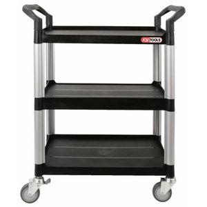 Trijų lentynų plastikinis vežimėlis, KS tools