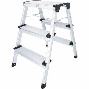 Step ladder, aluminium, 3 steps, 600mm