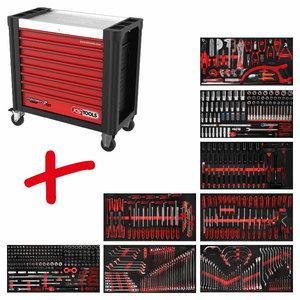 Tool trolley Perfomanceplus P25, 8-drawers + 564pc set, KS Tools