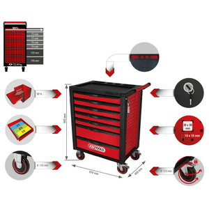 RACINGline BLACK/RED tool cabinet with 7 drawers, KS Tools