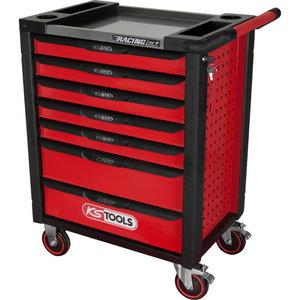Įrankių vežimėlis RACINGline su 7 stalčiais, juoda/raudona, KS tools