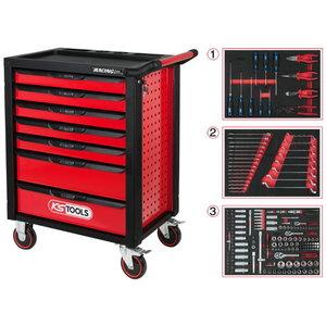 Įrankių vežimėlis RACINGline, 7 stalčiai +215vnt įrankių