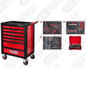 Töökäru must/punane RACINGline, 7-sahtlit + 341- osal kpmpl, KS Tools
