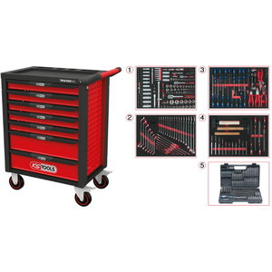 RACINGline BLACK/RED tool cabinet with seven drawers and 515, KS tools