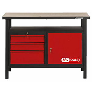 Workbench with 3 drawers and 1 door 1200mm KST Racing, KS Tools