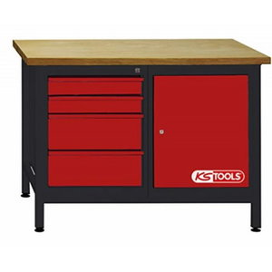 Workbench 4 drawers + 1 door 1200x500x840mm, KS Tools