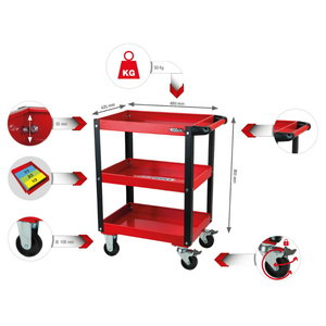 Darbnīcas/servisa instrumentu rati 150kg, Kstools