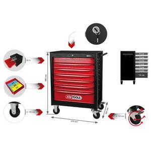 ECOline BLACK/RED įrankių vežimėlis su 7 stalčiais