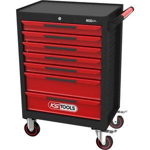 Įrankių vežimėlis ECOline su 7 stalčiais, juoda/raudona, KS tools