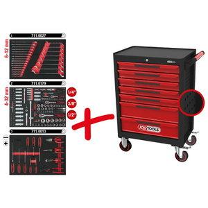Įrankių vežimėlis ECOline su 7 stalčiais ir  215vnt įrankių, KS tools