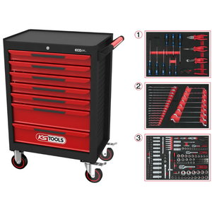 ECOline BLACK/RED tool cabinet with 7 drawers, 215pcs, KS Tools