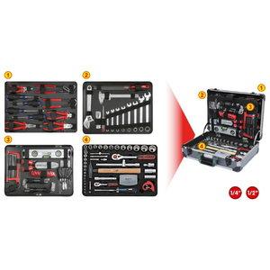 """Universal tool kit 1/4""""+1/2"""" 127-pcs, KS Tools"""