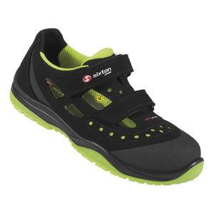 Safety sandals Meneito Ritmo, black/yellow, S1P ESD SRC 48, Sixton Peak