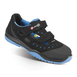 Safety sandals Meneito Ritmo, black/blue, S1 ESD SRC 45, Sixton Peak