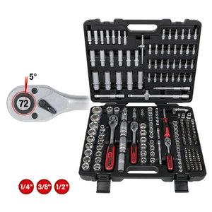 Socket set 1/4+3/8+1/2'' 195 pcs, KS Tools