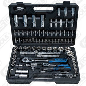 Galvučių komplektas  1/4´´-1/2´´ 94vnt CHROME Plus, KS Tools