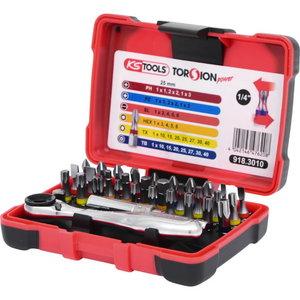 """Otsakte kmpl TORSION power 1/4"""" narrega , 32-osa, KS Tools"""