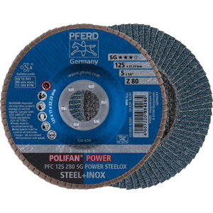 Lameļu slīpdisks 125mm Z80 SG POWER STEELOX PFC, Pferd