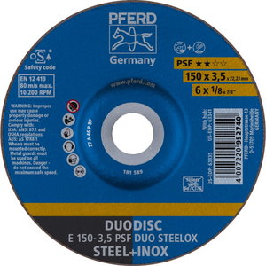 Griešanas un slīpēšanas disk 150x3,5mm PSF DUO STEELOX, Pferd