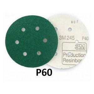 Slīpēšanas disks 150mm P60 6-atveres 3M 245 Hookit, 3M