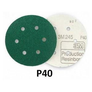 Sanding disc 150mm P40 6-hole 3M 245 Hookit, 3M