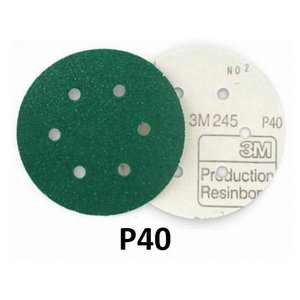 Sanding disc 150mm P40 6-hole 3M 245 Hookit, 3M