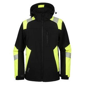 Softshell jacket Astra, HI-VIS black/yellow, Pesso
