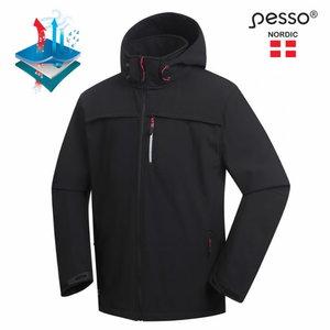 Softshell jaka ar kapuci Atlanta, black, Pesso