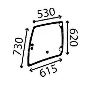 Doorglass, left, rear, Manitou MT625 748125 795195 tinted, Bepco