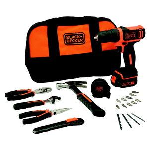 Cordless drill BDCDD12 / 10,8V / 1,5 Ah + 20 accessories, Black+Decker