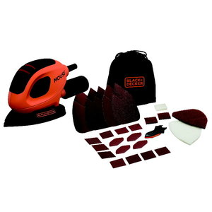 Mouse sander BEW230BC+ 15 accessories, Black+Decker