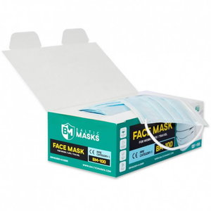 Face mask, 3-layers, light blue, loops, disposable