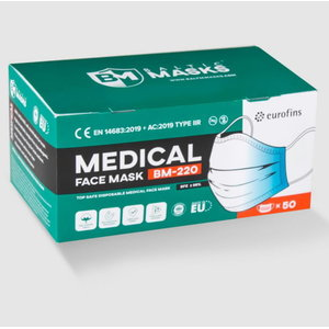 Face mask, medical, 3-layers, loops, disposable, 50pcs