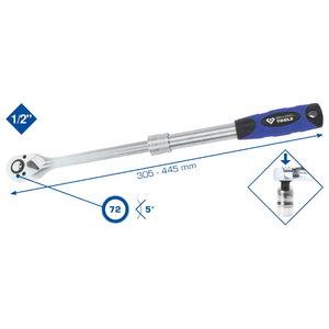 Telescopic ratchet reversible 1/2´´, 460-600mm, Brilliant Tools