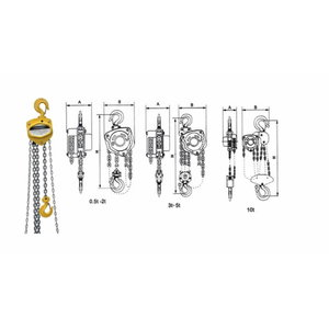 Kett-tali 0,25T/ 3m, 3 Lift