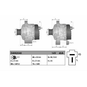 Generaator  pinge 14V, 40A, süsteem 12V