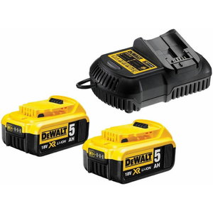 Batteries XR Li-ion 18V / 5,0Ah x 2 +  charger 10,8-18V DeWA