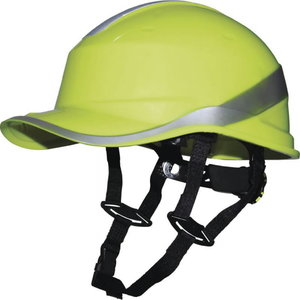 Protective helmet, Baseball, 1000 VAC/1500 VDC, HiViz yellow DIAMOND V UP, Delta Plus