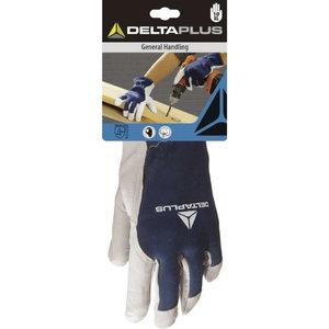 Gloves coatskin/jersey back, natural/blue 10