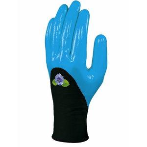 Gloves polyester, nitrile coating, blue, Delta Plus