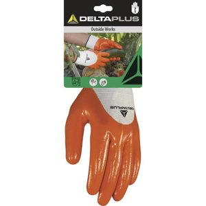 Pirštinės, poliesteris, nitrilu dengtas delnas, oranžinė 9, Delta Plus