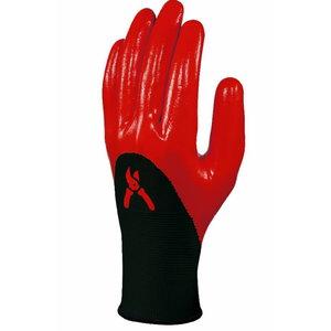 Gloves polyester, nitrile coating, red 10