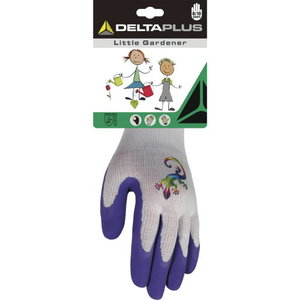 Gloves for kids, knitted polyester, latex foam coating palm 4 (8/10 Y), Delta Plus