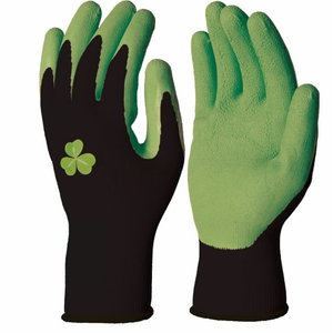 Gloves general use, polyester, natural latex, green 7, Delta Plus