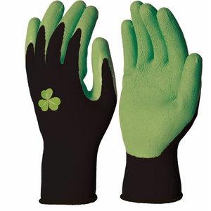 Cimdi, poliestera, dabīgā lateksa pārklājums, zaļi, Delta Plus
