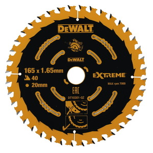 Pjovimo diskas 165x1,65x20mm, z40, 20° medis MDF, DeWalt