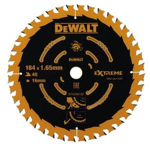 Pjovimo diskas 184x1,65x16mm, z40, 20° medis MDF, DeWalt